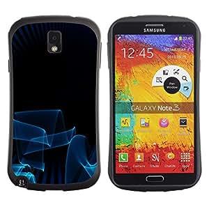 Fuerte Suave TPU GEL Caso Carcasa de Protección Funda para Samsung Note 3 N9000 N9002 N9005 / Business Style Blue Lines 3D Art Dark Minimalist