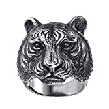 LineAve Men's Stainless Steel Tiger Ring