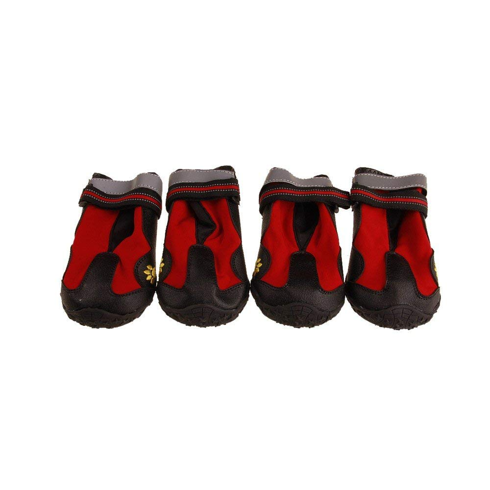 Adjustable Dog Boots Non-Slip Tear-Resistence Pet Snow Booties for Dog Waterproof Paw Predectors Durable Dog Hiking shoes Outdoor (color   Red)