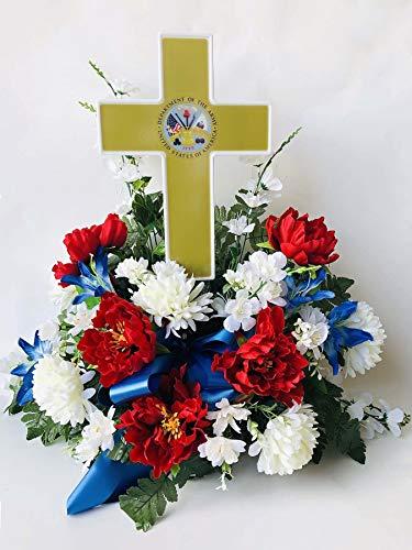 (Eternal Light - Solar Lighted Cross - Army Cemetery Veteran Memorial Grave Garden Decoration)
