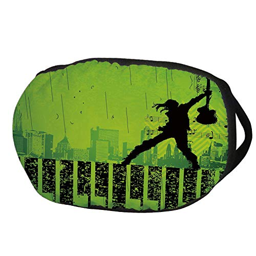Fashion Cotton Antidust Face Mouth Mask,Popstar Party,Music in the City Theme Singer with Electric Guitar on Grunge Backdrop,Lime Green Black,for women & -