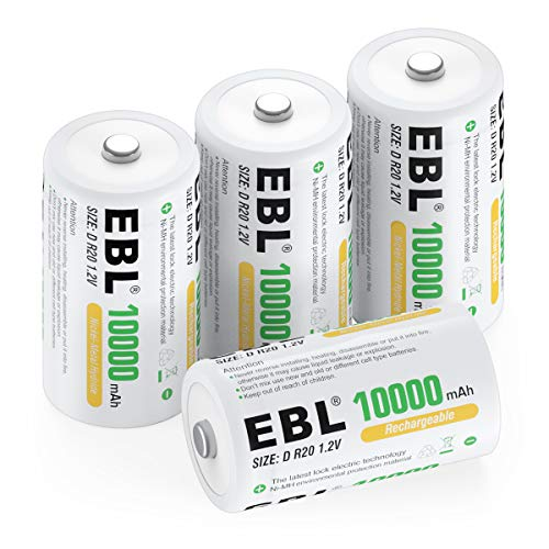 EBL D Size Battery D Cell 10000mAh Huge Capacity Ni-MH Rechargeable D Batteries with Storage Box, 4 Counts (Best Rechargeable D Batteries)