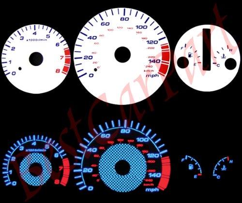 98-02 Honda Accord V6 AT WHITE GLOW EL (99 Reverse Speed Glow Gauges)