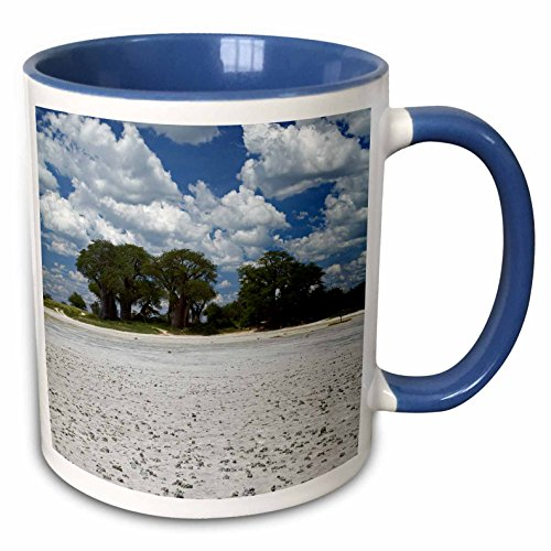 (3dRose Danita Delimont - David Wall - Landscape - Kudiakam Pan and Baines Baobabs, Nxai Pan NP, Botswana, Africa - 15oz Two-Tone Blue Mug (mug_187929_11))