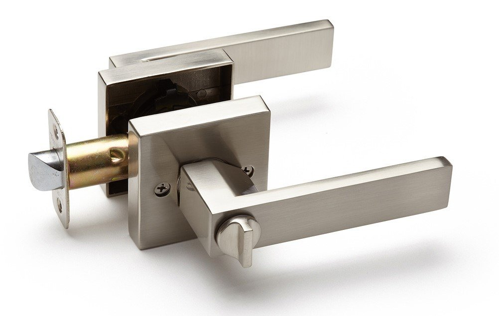 LC2343 Satin Nickel Zomax Inc Designer Series TUIRE Passage Door Square Rose Lever//Door Handle
