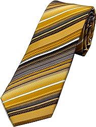 Zarrano Skinny Tie 100% Silk Woven Yellow/Brown Stripe Tie