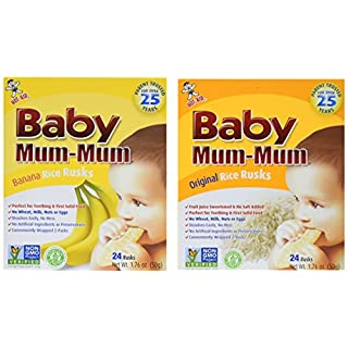 Hot-Kid Baby Mum-Mum Rice Rusks, 2 Flavor Variety Pack, 24 Pieces (Pack of 4) 2 Each: Banana, Original Gluten Free, Allergen Free, Non-GMO, Rice Teether Cookie for Teething Infants
