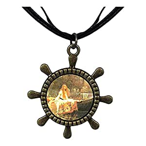 Chicforest Bronze Retro Style The Lady Of Shallot Ship Steering Wheel Pendant