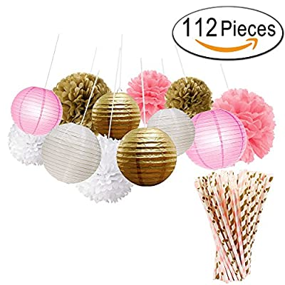 Paxcoo 112 Pcs Tissue Paper Pom Poms Flowers Paper Lanterns with Paper Drinking Straws for Baby Shower and Wedding Party Decorations
