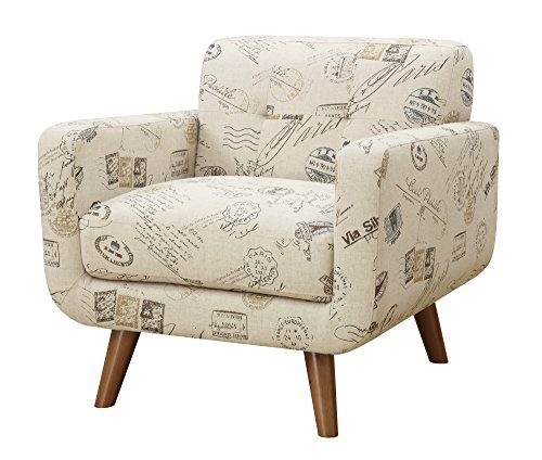 Cheap Emerald Home Remix Vintage Postcard Accent Chair with Button Tufted Back, Telescoped Wood Legs, and Track Arm