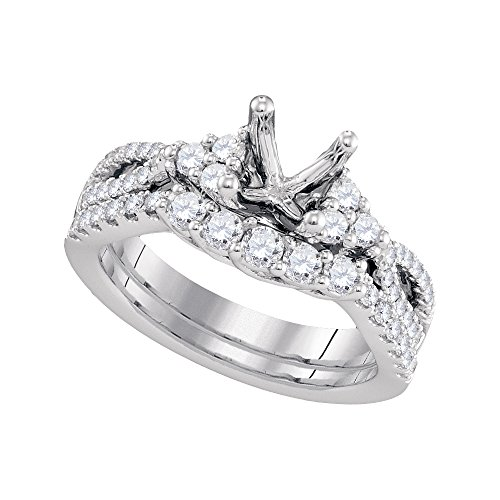 Jewel Tie Size - 7.5-18k White Gold Diamond Bridal Semi-mount Engagement Ring with Curved Matching Wedding Band (3/4 cttw.)