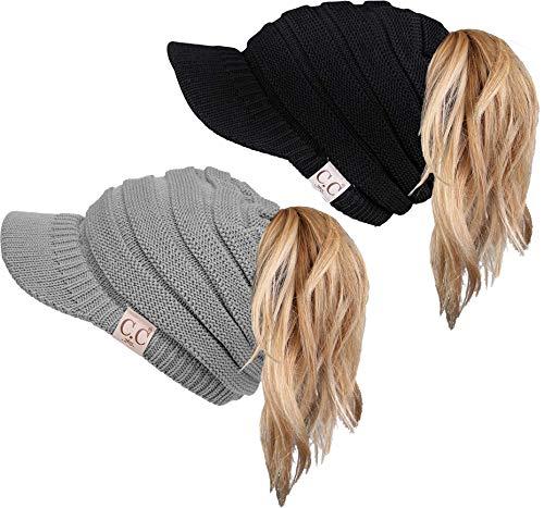 Funky Junque CC 365 All Season Brim BeanieTail Ponytail Messy Bun Beanie Cap Hat