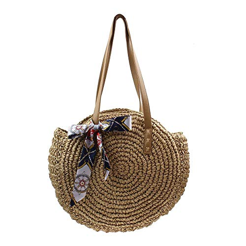Straw Bag Women Handwoven Round Straw Handbag Natural Chic Large Summer Beach Tote Woven Handle Shoulder Bag (Khaki)