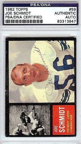 Joe Schmidt Detroit Lions - Joe Schmidt Signed 1962 Topps Trading Card #59 Detroit Lions - PSA/DNA Authentication - Autographed NFL Trading Cards