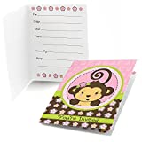 Big Dot of Happiness Pink Monkey Girl - Fill In Baby Shower or Birthday Party Invitations - Set of 24
