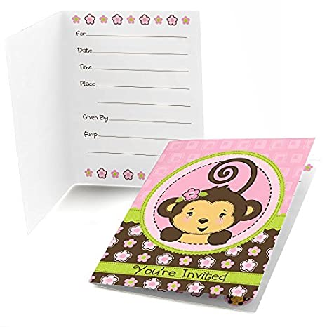 Amazon big dot of happiness pink monkey girl fill in baby big dot of happiness pink monkey girl fill in baby shower or birthday party invitations filmwisefo