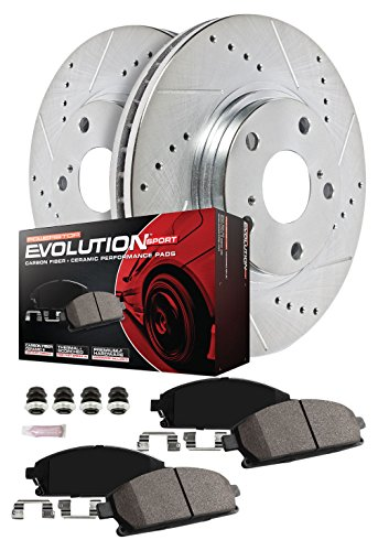 Power Stop K2149 Front Ceramic Brake Pad and Cross Drilled//Slotted Combo Rotor One-Click Brake Kit