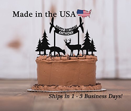 Wildlife Birthday Cake Topper, 5 piece set, Happy Birthday, Deer Antler Cake Toppers, Acrylic, Deer Decor, Birthday Party, ()
