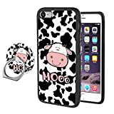 Feloowse Case for iPhone 7 Plus 8 Plus Case with Ring Holder Stand Cartoon Cow Pattern Design iPhone 7 Plus 8 Plus Anti-Slip TPU + Hard PC Back Case