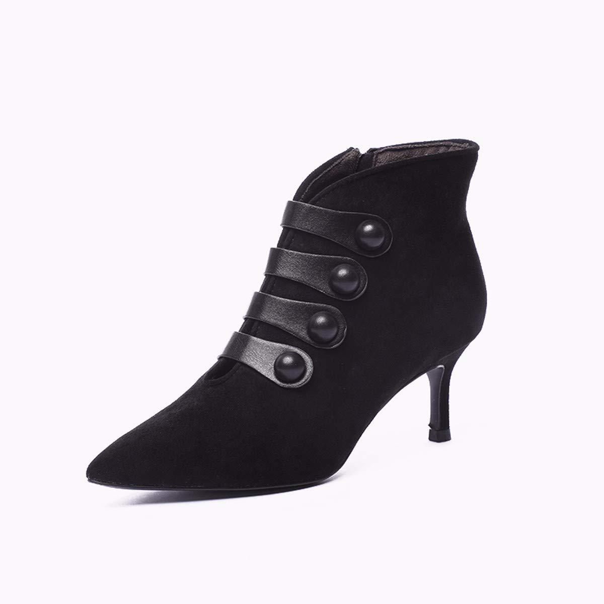 AJUNR Modische Arbeit Damenschuhe Retro Stiefel mit hohen 6 cm sexy wild Wildleder spitz und dünnen nackten Stiefel und Stiefeletten