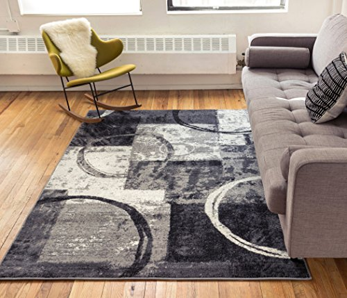 - Dreamy Shapes & Circles Grey Modern Abstract Distressed Geometric Boxes Area Rug 5 x 7 ( 5'3