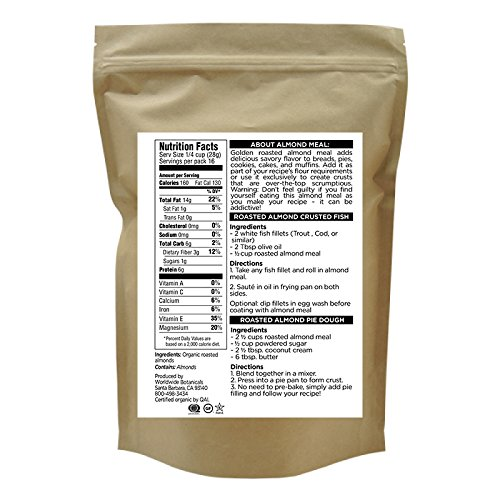 Worldwide Botanicals Organic Roasted Almond Meal, Unblanched, Certified Gluten-Free, Vegan, Paleo 1 lb. (454g)