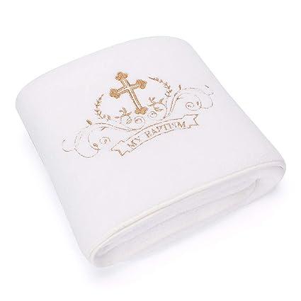 Lacofia Toalla de bautizo Manta de bautismo para bebés unisex,Bordado cruz blanco y dorado