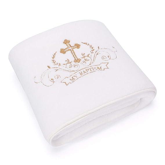 Lacofia Toalla de bautizo Manta de bautismo para bebés unisex,Bordado cruz blanco y dorado,Tamaño de la toalla de baño completo 150 * 75 cm: Amazon.es: Bebé