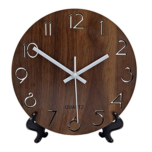 51X4PztfcUL - Jomparis Wooden Wall Clock for Desk 6 Inches