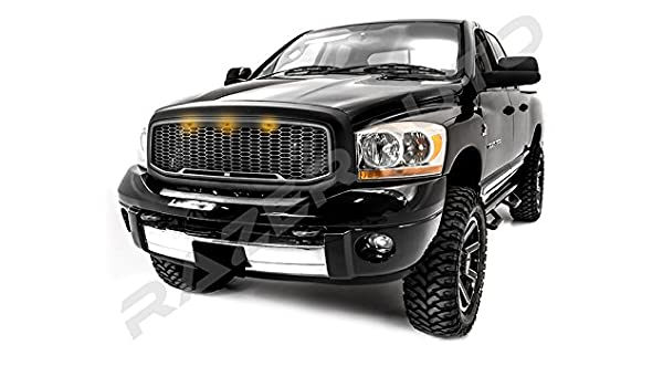06-09 Dodge RAM Raptor Style Matte Black Replacement Mesh Grille+Shell+Amber LED