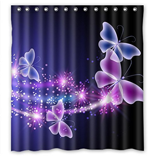 FMSHPON Pink Purple Butterfly Shining Light Under Blue Sky Waterproof Shower Curtain 66 x 72 Inches ()