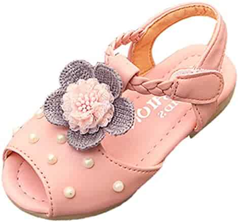 84de16aac3 VECJUNIA Girl's Dressy Sandals Peep Toe Woven T-Strap Shoes with Flower  Pearl