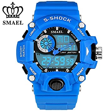 smael Analog LED Digit Sport Watches Men 50 m impermeable S golpes hora dual Casual Relojes Militar Relogio Masculino Regalo ws1385, color Azul - azul: ...