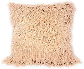 Lusso Mongola con Pelo Finta Pelliccia pelle Scamosciata Beige Copricuscino 17 ' - 43CM