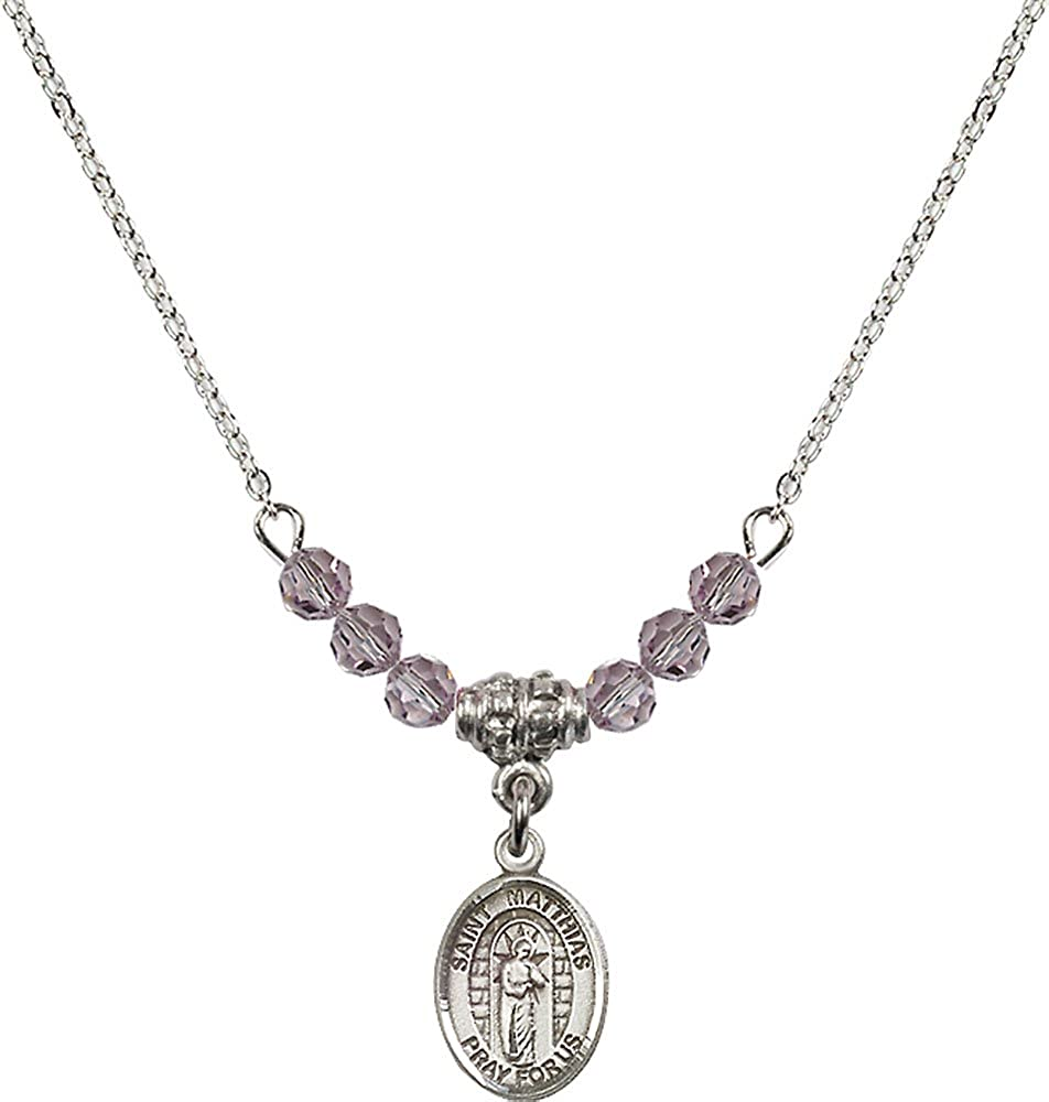 18-Inch Rhodium Plated Necklace with 4mm Light Amethyst Birthstone Beads and Sterling Silver Saint Matthias the Apostle Charm.