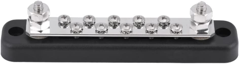 Keenso 10 Positions Bus Bar Electric Terminal Junction Block W / 2 Stud AC 130A DC 150A for Trucks, Caravans, Buses, Boats