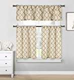 Home Maison  – Luke Geometric Linen Textured Kitchen Tier & Valance Set | Small Window Curtain for Cafe, Bath, Laundry, Bedroom – (Taupe) Review