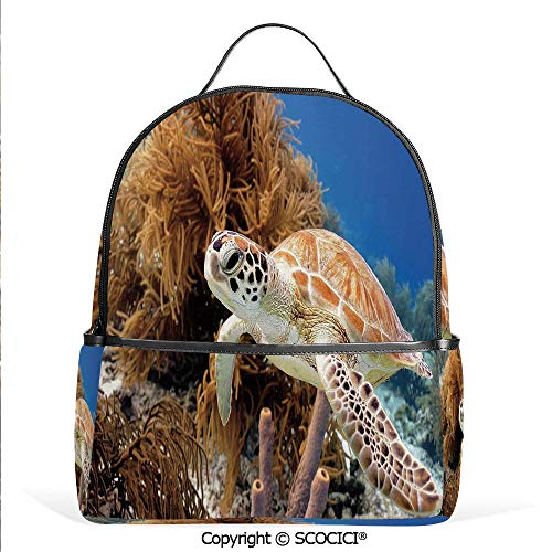 (All Over Printed Backpack Coral Reef and Sea Turtle Close Up Photo Bonaire Island Waters Maritime,Light Coffee Brown Blue,For Girls Cute Elementary School Bookbags)