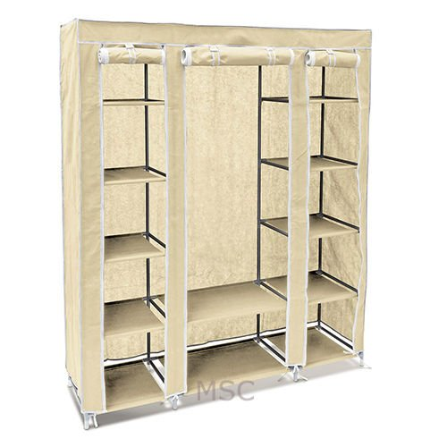 K-One Beige Fabric Canvas Wardrobe With Hanging Rail Shelving Home Storage 135 * 45 * 175cm MS Packaging