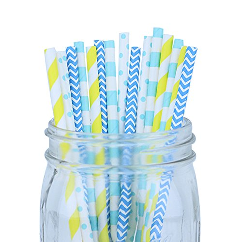 just-artifacts-decorative-party-paper-straws-100pcs-assorted-color-pattern-yellow-blues-aqua