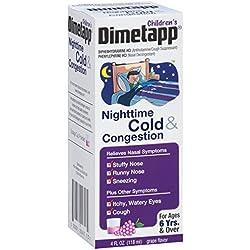 Dimetapp Children's Nighttime Cold & Congestion Antihistamine/Cough Suppressant & Decongestant (Grape Flavor, 4 fl. oz. Bottle, Pack of 3)
