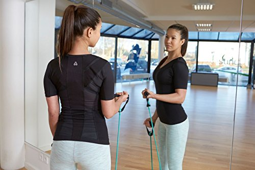 ALIGNMED Posture Shirt Pullover for Women - Moisture Wicking, Breathable, Compression & Performance Active Wear for Yoga, Fitness & Sports - Increases Upper Body Strength (Black, Medium)