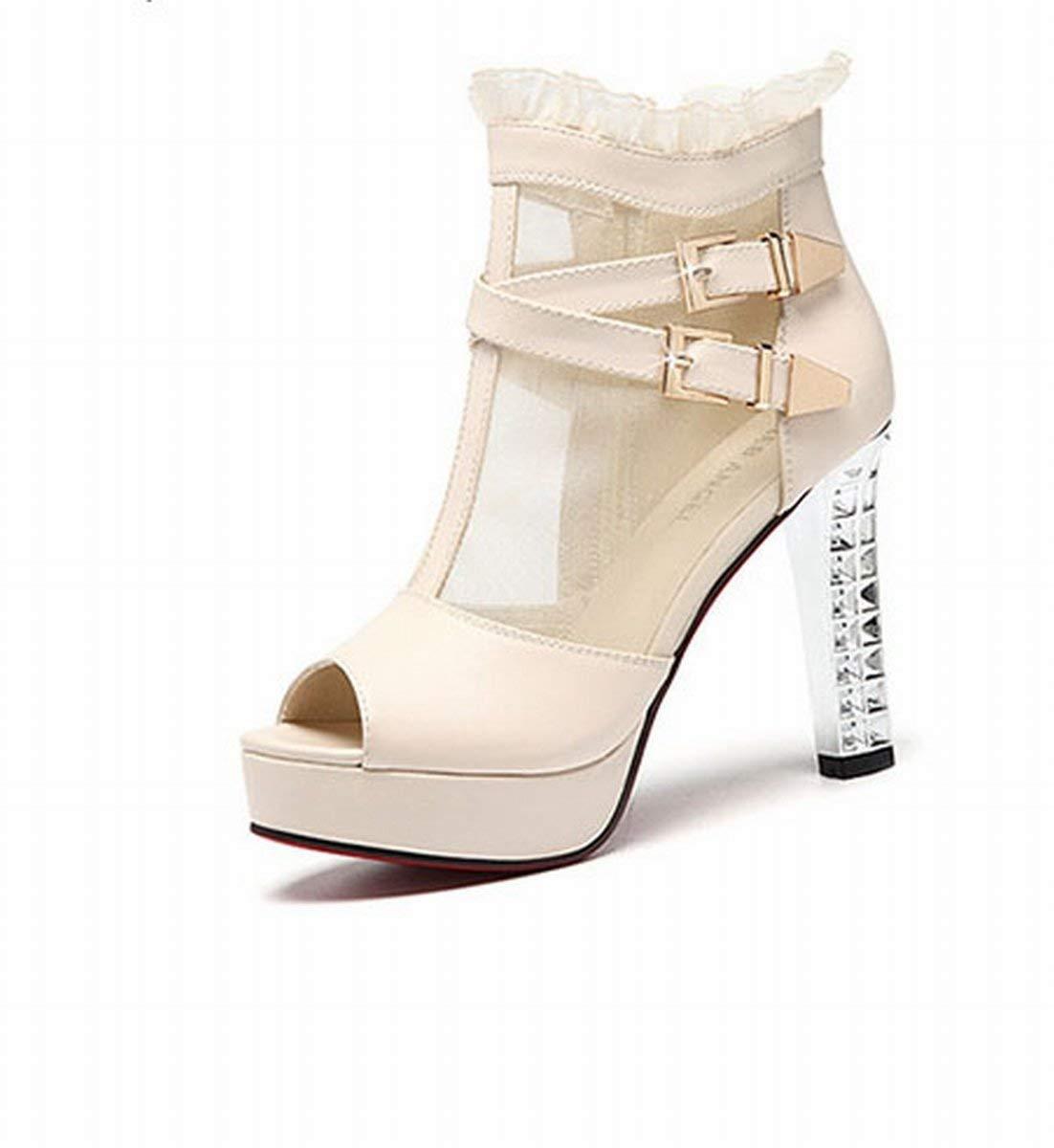 Oudan Roma mit Die Sandalen der Herr high-Heeled Aufsatz von Fisch Schuhe Schuhe Martin (Farbe   Beige, Größe   35)