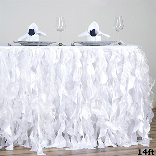 BalsaCircle 14 feet x 29-Inch White Curly Waves Taffeta Table Skirt Linens Wedding Party Events Decorations Kitchen Dining Catering by BalsaCircle