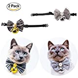 RayCC Dog Cat Collar Bow Tie Pet Collar With Bell 2 Pack Pet Collar for Small Dog Cat