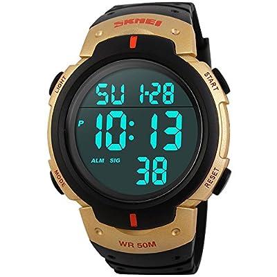 Tamlee Men Digital Led Watch Waterproof Big Screen Rubber Military Sport Wristwatch Gold