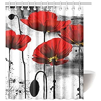 red and grey shower curtain. InterestPrint Beautiful Vintage Poppy Flower Ink Painting Art Design Mildew  Proof Polyester Fabric Shower Curtain Red Grey White Amazon Com Ambesonne Floral Classic Decor By