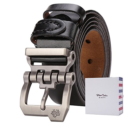 Classic Studded Leather Belt (BISON DENIM Classic Belts For Men - Mens Genuine Leather Belt for Dress & Jeans,Black-1bm,120(waist size:37'' to 40''))