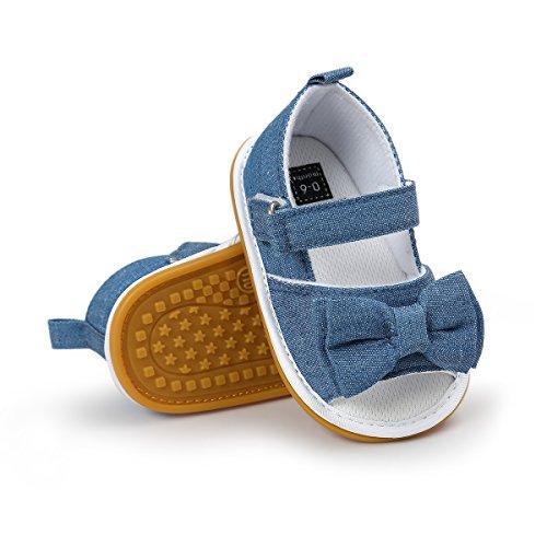 oklady Toddler Baby Boy Girls Bow Tie Knot Sandals First Walker Shoes(6-12 Months) Walker Denim