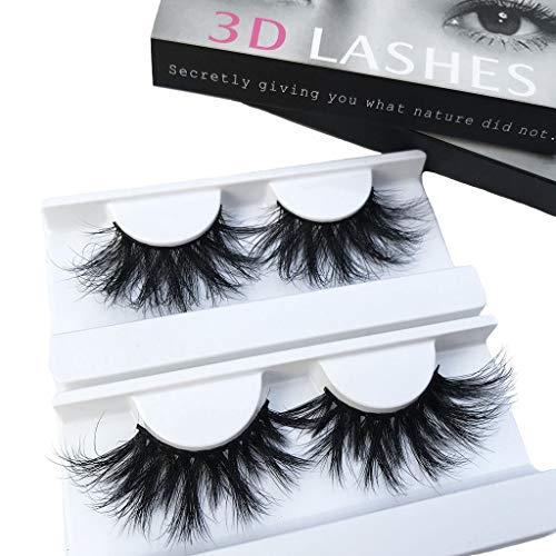 - Mink Lashes 2 Pair 25mm 3D Mink Eyelahse Long Luxury 100% Siberian Mink Fur Natural Eyelashes Cruelty-Free Fluffy Fake False Eyelashes For Makeup
